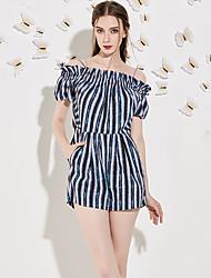 Trapèze Robe Femme Sortie simple,Rayé A Bretelles Au dessus du genou Manches Courtes Bleu Polyester Eté Taille Normale Non Elastique Moyen