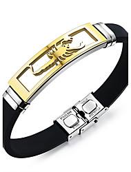 Bracelet Bracelets d'identification Silicone Acier Forme Géométrique Mode Vintage Pierre Quotidien Décontracté Regalos de Navidad Bijoux