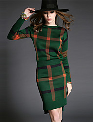 Women's Going out Street chic Fall Set Skirt,Plaid Round Neck Long Sleeve Blue / Red / Green Polyester Medium