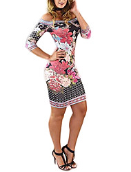 Women's Going out / Party/Cocktail Sexy Bodycon DressFloral Boat Neck Above Knee  Length Sleeve Red