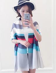 Vintage Multicolored Horizontal Stripes Printing Beach Towel Satin Silk Scarf Oversized Travel  Shawl Scarves