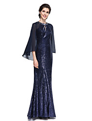 Lanting Bride® Trumpet / Mermaid Mother of the Bride Dress - Elegant Floor-length Long Sleeve Chiffon / Sequined with Sequins