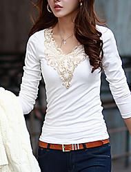 Damen Solide Einfach / Street Schick Lässig/Alltäglich T-shirt,Rundhalsausschnitt Alle Saisons Langarm Weiß / Schwarz Baumwolle Mittel