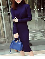 Maxi pull Da donna-Casual Moda città Tinta unita Blu Rosso Nero Grigio A collo alto Manica lunga Cotone Acrilico Primavera Medio spessore