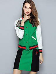 Women Plus Size Embroidered Patchwork Coat Skirt Two Piece Set Fashion Vintage Color Block