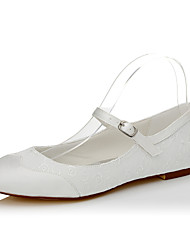 Women's Flats Spring Summer Fall Silk Wedding Dress Party & Evening Flat Heel Buckle Ivory Other