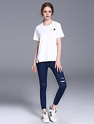 frmz solide jean bleu / large pantsstreet jambe des femmes chics