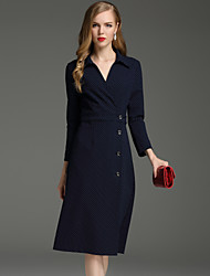 Boutique S Women's Work Simple Sheath DressSolid V Neck Knee-length Long Sleeve Blue Cotton / Polyester Spring / Fall