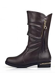 Feminino-Saltos-Plataforma Botas da Moda Inovador Botas de Cowboy Botas de Neve Botas Montaria-Rasteiro Plataforma-Preto Marrom-Couro