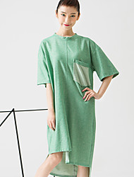 ROOM404  Women's Casual/Daily Simple Loose DressSolid Crew Neck Knee-length / Asymmetrical Length Sleeve