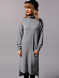 Newbefore Women's Casual/Daily Simple Loose DressSolid Turtleneck Knee-length / Asymmetrical Long Sleeve