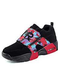 Femme-Décontracté / Sport-Noir et rouge / Noir et blanc-Talon Plat-Ballerines-Sneakers-Cuir