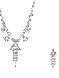 2016 Noble Luxury Wedding Bridal Silver Zircon Necklace Earrings Party Jewelry Set