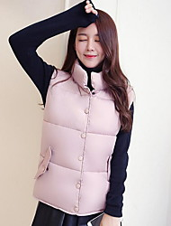 Women's Solid Pink / Red / White / Black / Gray Padded Coat,Simple Round Neck Sleeveless Down Vest