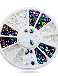 White AB Black Glitter Nail Rhinestone Pearls Wheel Round Heart Designs Acrylic Flat Back Nail Art Decorations