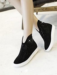 Women's Loafers & Slip-Ons Spring / Fall Wedges PU Casual Wedge Heel Sparkling Glitter Black / Purple / Red