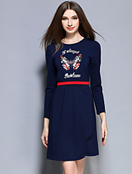 Boutique S Women's Casual/Daily Simple Sheath DressAnimal Print Round Neck Above Knee Long Sleeve Blue