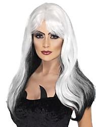 Women Long Deep Wave Synthetic Hair Wig Black Mix White Heat Resistant