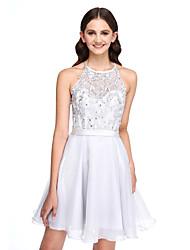 2017 lanting bride® mini court dentelle / organza élégante robe / demoiselle d'honneur - une ligne bijou avec appliques
