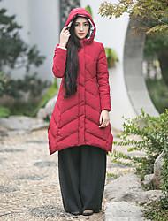 Manteau Rembourré Femme,Long Vintage Décontracté / Quotidien Couleur Pleine-Autres Duvet de Canard Blanc Manches Longues Rouge Capuche