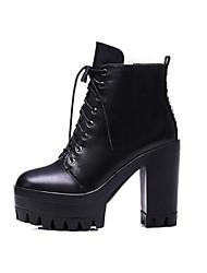 Черный-Женский-Для прогулок-Кожа-На толстом каблуке-Военные ботинки-Ботинки