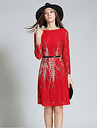 Women's Going out Sexy Sheath Dress,Jacquard Round Neck Knee-length Long Sleeve Red Polyester Fall / Winter