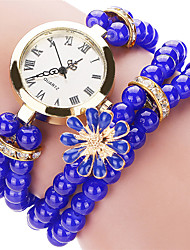Women's Fashion Quartz Casual Watch Beautiful Bead Bracelet Round Alloy Dial Watch Cool Watch Unique Watch