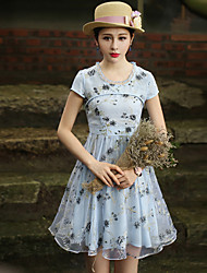 Our Story Women's Going out Vintage Sheath DressFloral Crew Neck Knee-length Short Sleeve Blue Polyester Summer