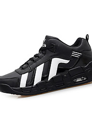 Homme-Sport-Noir Blanc Noir et rouge-Talon Plat-Confort-Baskets-Polyuréthane