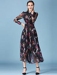 Women's Going out Street chic  DressFloral Halter Maxi Long Sleeve Black Silk Spring / Summer High Rise