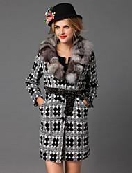 Damen Stickerei Retro Formal Mantel,Winter V-Ausschnitt Langarm Grau Mittel Wolle / Fuchsfell
