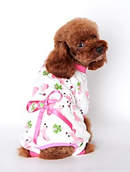 Cat Dog Clothes/Jumpsuit Pajamas Dog Clothes Winter Spring/Fall Cartoon Cute Casual/Daily Yellow Blue Pink