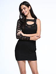Women's Floral Lace Motif Cut-out Mini Dress