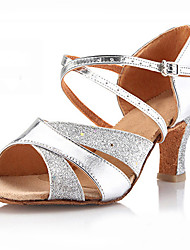 Non Customizable Women's Dance Shoes Sparkling Glitter Sparkling Glitter Latin Sandals Chunky Heel Performance