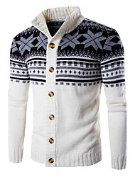 Men's Color Block Casual / Sport CardiganCotton Long Sleeve Black / White / Gray