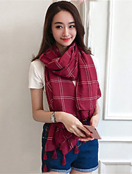 Solid Color Fresh Plaid Printed Cotton Scarf Autumn And Winter Long Fringed Shawl Scarves