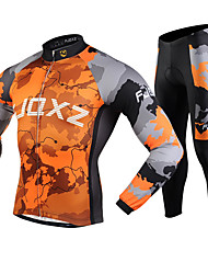 FJQXZ Cycling Jacket with Pants Men's Long Sleeves Bike Clothing Suits Thermal / Warm Windproof Anti-Fuzz Lightweight Materials 3D Pad