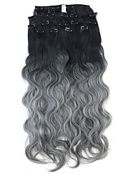 Neitsi 60cm 165g Curl Wavy Clip in on Hair Extension Ombre Grey Synthetic Hair Weft 8Pcs/Set