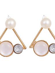 Femme Mode Vintage Cristal Plaqué or Opale Alliage Forme de Triangle Bijoux Pour Mariage Soirée