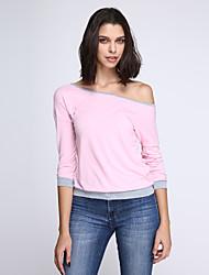 Tee-shirt Aux femmes,Couleur Pleine Automne Manches ¾ Col Arrondi Bleu / Rose / Vert Polyester Opaque