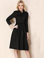 Women's Simple Shirt DressSolid Shirt Collar Knee-length Long Sleeve Black / Brown Nylon Fall Mid Rise Inelastic