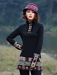 Our Story Going out Vintage Spring / Fall T-shirtGeometric Crew Neck Long Sleeve Black Rayon / Polyester