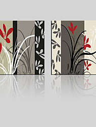 JAMMORY Canvas Set Landscape ,Two Panels Gallery Wrapped, Ready To Hang Vertical Print No Frame Black and Red Flower