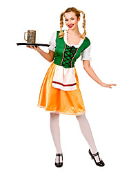 Costumes de Cosplay Plus de costumes Fête / Célébration Déguisement Halloween Vert / Jaune Mosaïque Robe / Plus d'accessoiresHalloween /