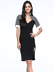 Women's Vintage/Sexy/Cute/Party/Work Micro-elastic Short Sleeve Knee-length Dress (Cotton Blends)
