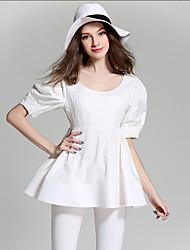 burdully выходить мило летом T-shirtsolid вокруг шеи длинный рукав белый хлопок / полиэстер среды