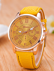 Reloj Mujer  Geneve  New Wrist Watches For Men  Women Quartz Gold Rome's Number Dial  Watch Pu Leather  Clock Strap Watch