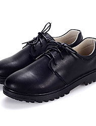 Boy's Oxfords Spring Fall Winter Comfort Leather Casual Party & Evening Low Heel Lace-up Black Walking