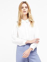 c + impressionar as mulheres está saindo da primavera sofisticado / cair shirtsolid colarinho da camisa de manga comprida de poliéster branco fino