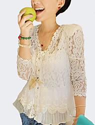 Женский На выход Весна Лето Осень V-образный вырез,Секси Однотонный Белый Длинный рукав,Полиэстер,Тонкая